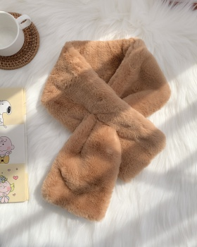 Korean style rabbit fur plush scarves for women