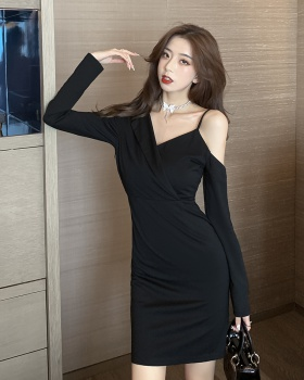 Ladies strapless temperament package hip long sleeve dress