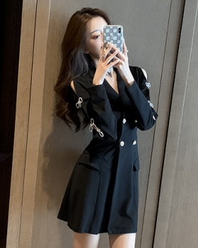 Bow decoration double row business suit buckle dress