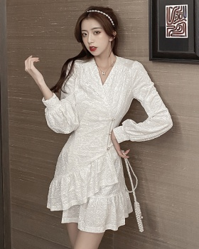 Buckle hem lotus leaf edges long sleeve dress