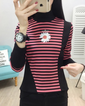 Korean style high collar T-shirt splice stripe tops for women