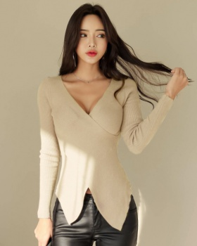Korean style long sleeve small shirt knitted tops for women