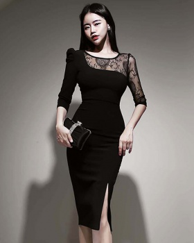 Autumn and winter Korean style T-back hip lace dress for women