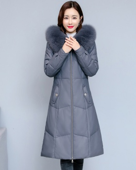 Fox fur hooded coat fashion long fur coat