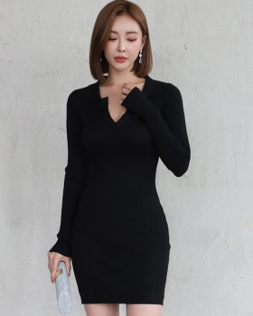 V-neck long sleeve dress knitted bottoming T-back