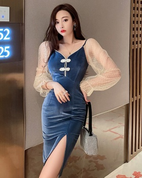 Pinched waist autumn cheongsam temperament dress
