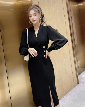 V-neck autumn fashion temperament slim ladies high waist dress