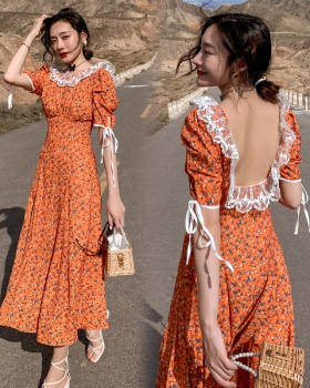 Sandy beach summer dress floral long dress for women