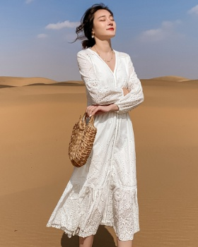 Autumn temperament vacation long dress white lady dress