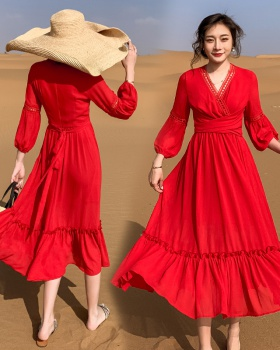Summer national style red sandy beach dress