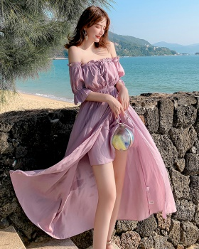 Slim flat shoulder long dress strapless seaside dress