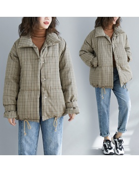Large yard loose cotton coat plaid down coat