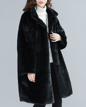 Villus thermal lapel overcoat long cstand collar coat