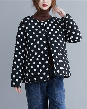 Round neck polka dot fashion clip cotton cotton coat