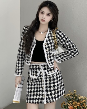 High waist cardigan autumn coat 2pcs set for women