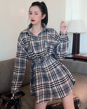Retro all-match plaid tops slim long shirt