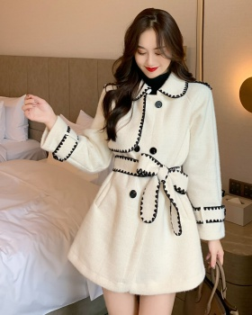 Temperament lapel coat woolen long overcoat for women