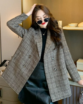 Plaid pinched waist double-breasted long lapel coat