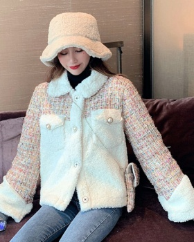 Imitation lamb's wool splice coat coarse flower thick bag
