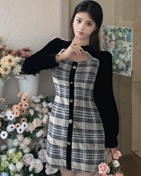 Retro temperament France style hollow plaid splice dress