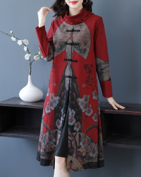 Long sleeve cheongsam temperament long dress