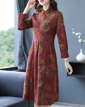 Exceed knee cheongsam long sleeve dress for women