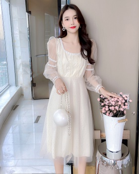 Autumn gauze puff sleeve temperament splice dress