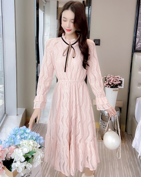 Slim autumn long dress trumpet sleeves lace dress
