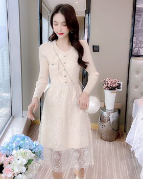 Long sleeve knitted splice tender autumn lace dress for women