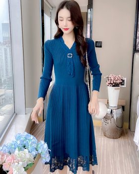 Knitted temperament long dress lace elegant dress for women
