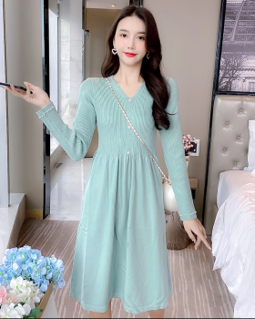 Knitted exceed knee lady autumn temperament dress