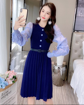 Temperament splice long dress long sleeve dress