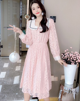 Lady lace sweet dress pinched waist doll collar long dress