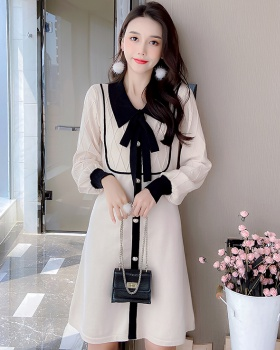 College style bow long dress splice dress for women