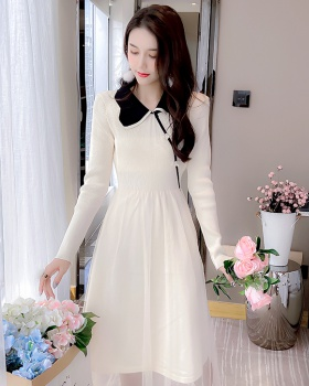 Temperament sweet dress knitted long dress for women