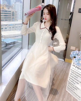 Splice slim lady dress show high autumn gauze long dress