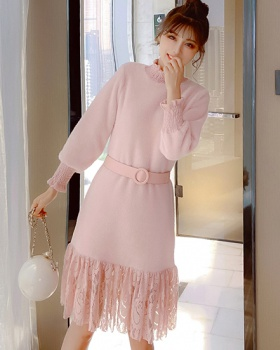 Bottoming lace lady dress mohair splice long dress