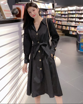 Single-breasted autumn and winter dress long coat