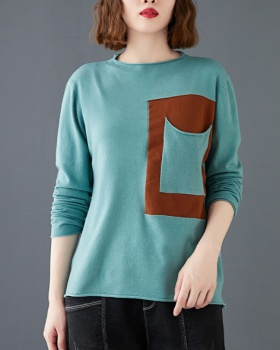 Retro half high collar sweater patch tops
