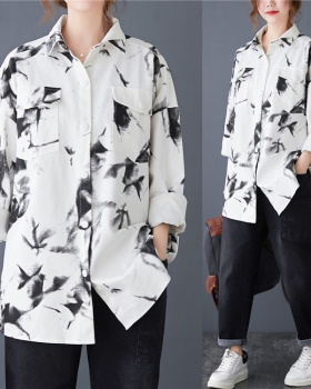 Personality large yard shirt printing thin coat for women
