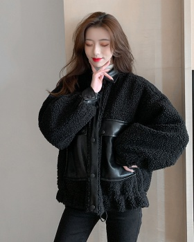 Autumn and winter lapel cotton coat lambs wool coat for women
