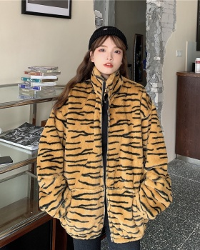 Zebra retro plush autumn and winter cstand collar coat