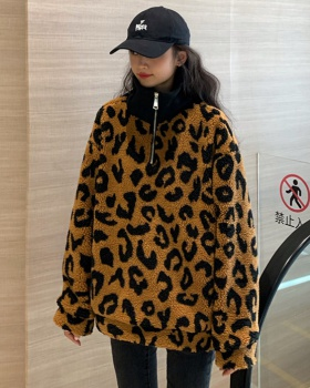 Leopard all-match hoodie lambs wool coat for women