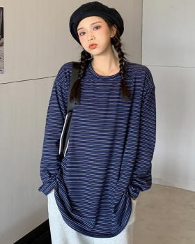 Stripe loose autumn and winter all-match hoodie for women