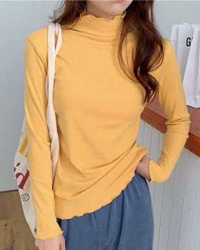 Autumn and winter wavy edge long sleeve high collar bottoming shirt