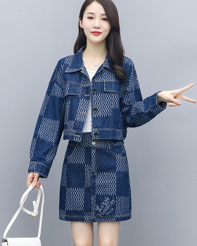 Long sleeve denim temperament skirt 2pcs set