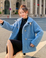 Lambs wool short Korean style winter loose coat for women