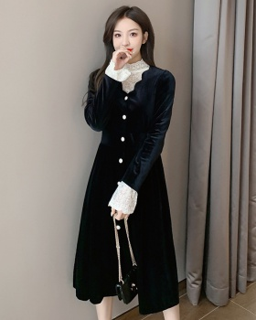 Slim long sleeve long autumn and winter France style dress