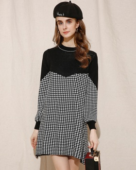 All-match knitted autumn and winter thick splice dress