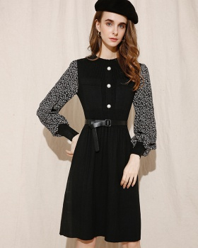 Pleated lantern sleeve sweater long sleeve floral dress